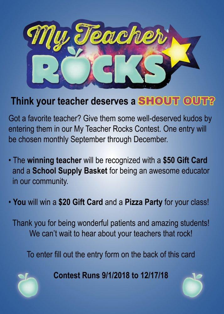 My Teacher Rocks Contest
